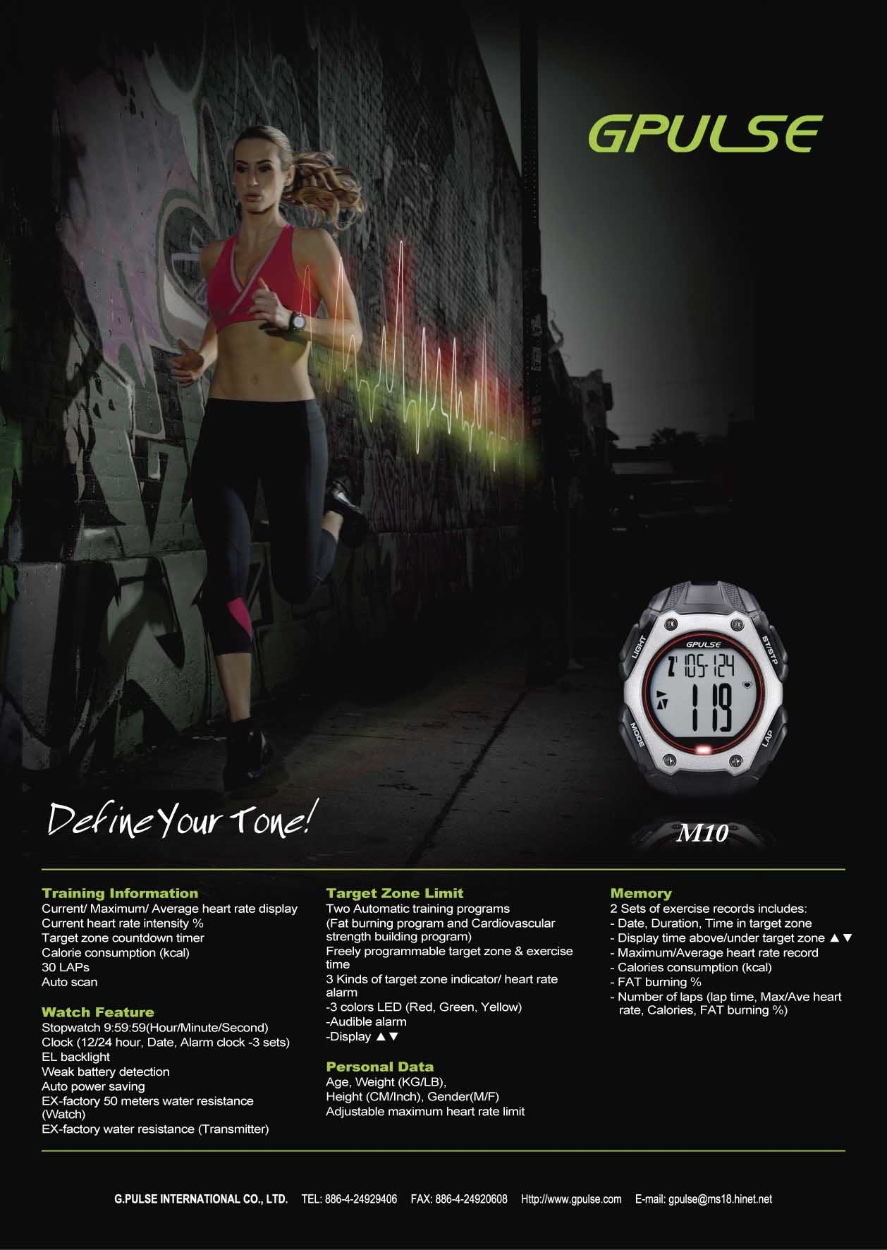 HRM-M10 G.PULSE 29 Function Heart rate monitor
